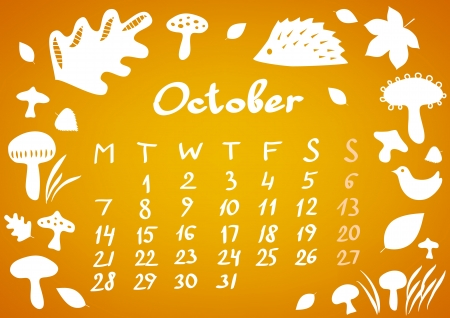 October 2013 calendar sheet Vector