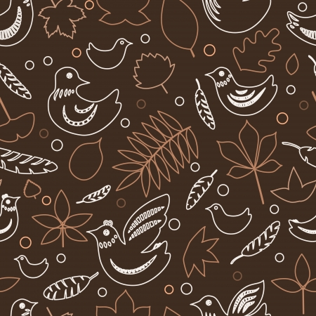 dove of peace: Birds and leaves brown spring seamless pattern
