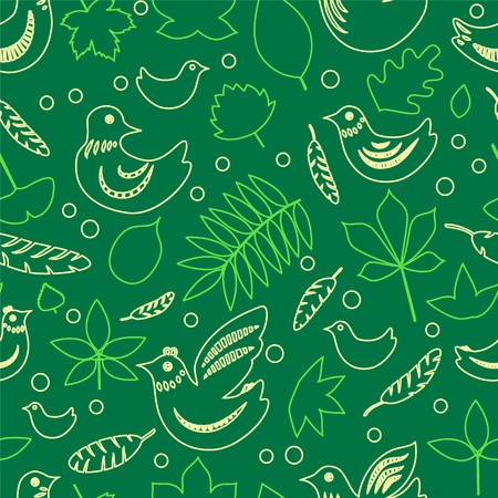 Birds and leaves green spring seamless pattern, vector Vector