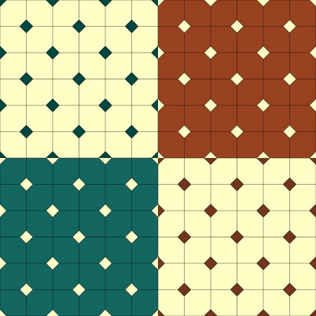 Floor tiles squares seamless pattern set, four colors Stock Vector - 17385766