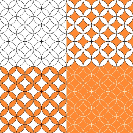 tileable: Overlapping circles seamless pattern, four colors set, vector Illustration