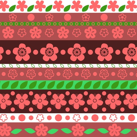 Floral striped seamless pattern in red and green Vector
