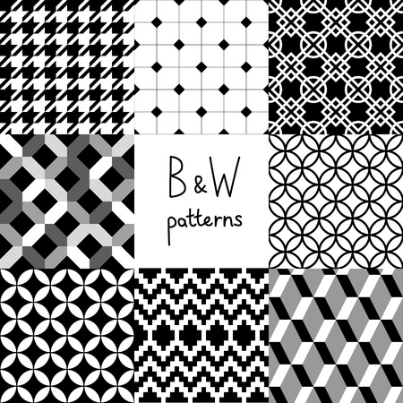 Black and white seamless patterns collection Vector
