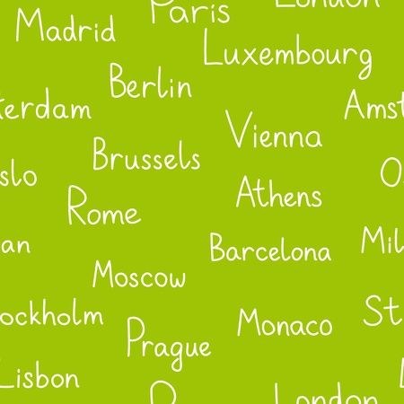 European cities typographic green seamless background Stock Vector - 17433368