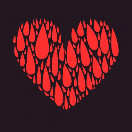 red love heart with flames: Blood drops dark heart background, card