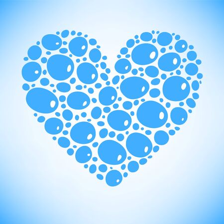 Blue water drops heart card background Stock Vector - 17433369