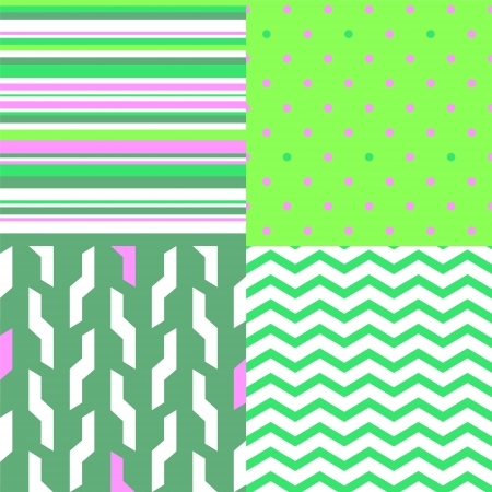 Simple geometric seamless patterns in green and pink set Vector