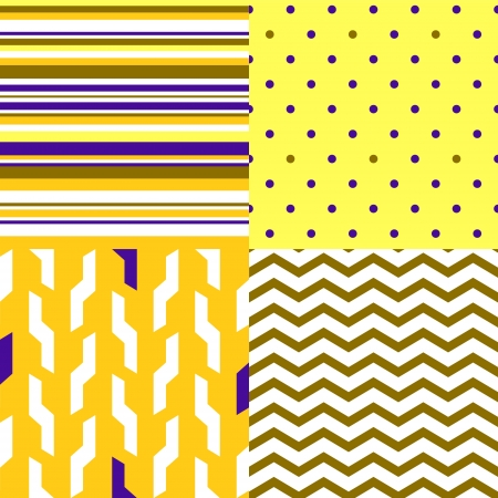 Simple geometric seamless patterns in yellow and purple set Vector