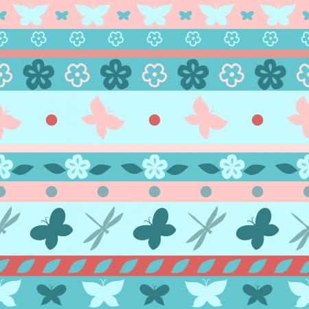Striped butterfly blue and pink seamless background Vector