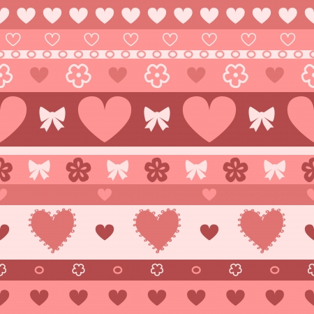 Hearts and stripes seamless pattern, vector Vector