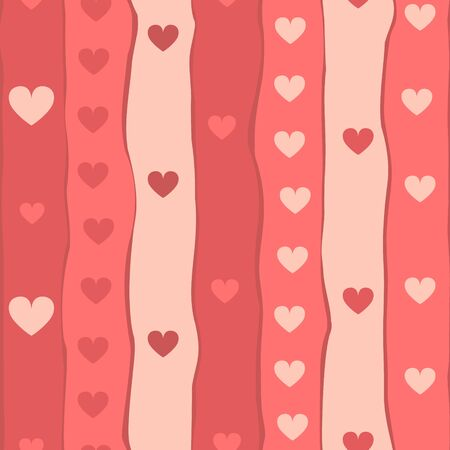 Red stripes and hearts seamless pattern, vector Stock Vector - 17511739