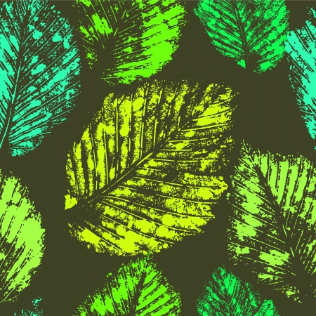 herbarium: Fresh green leaves traces seamless pattern, vector Illustration