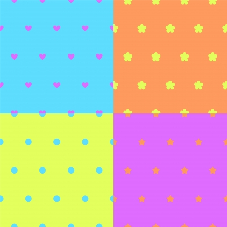 Four colorful simple seamless patterns set, vector Vector
