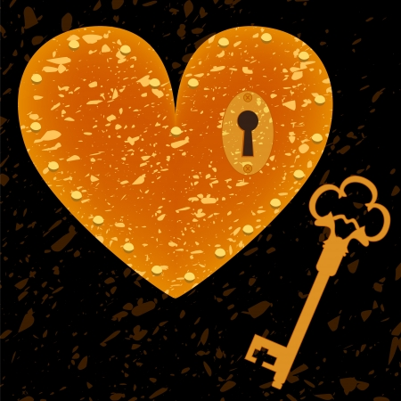 door lock love: Heart-shaped lock and key grunge background, vector