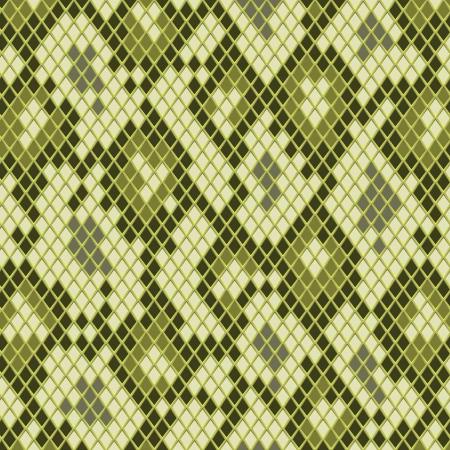 crocodile skin: Snake skin in green seamless pattern, vector