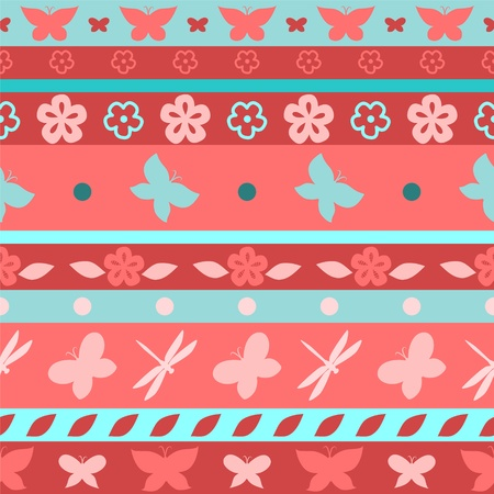 Stripes and butterflies seamless pattern, vector Stock Vector - 17511749