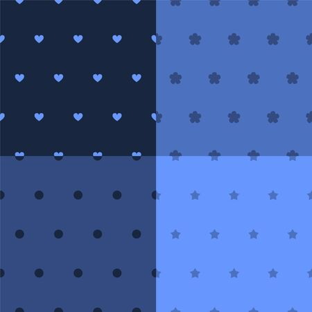 Simple seamless patterns set in shades or blue, vector Vector