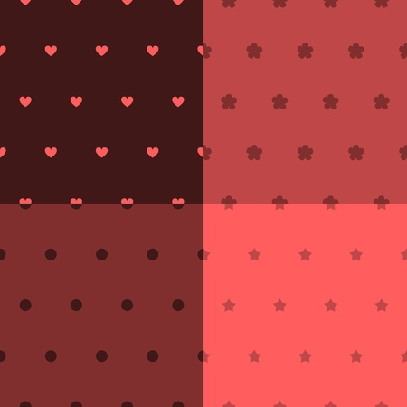 Simple seamless patterns set in shades or red, vector Vector