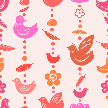 Red birds feathers and flowers bead threads seamless pattern Vector