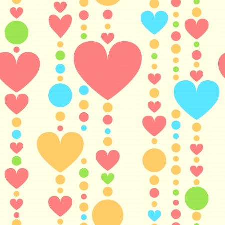 Colorful hearts and beads threads seamless pattern Vector