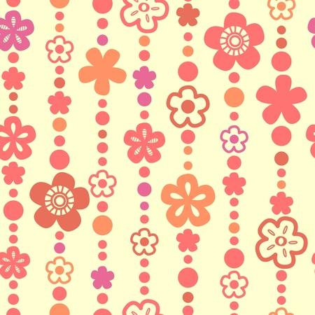 hilo rojo: Patrón transparente de flores y perlas hilos en blanco