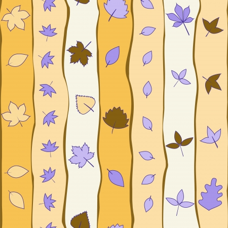 Orange and violet stripes and leaves seamless pattern Stock Vector - 17619519