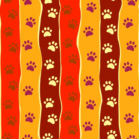 Bright cats or dogs paw print and stripes seamless pattern Illustration