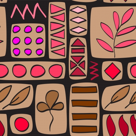 Brown and red patchwork quilted seamless pattern Vector