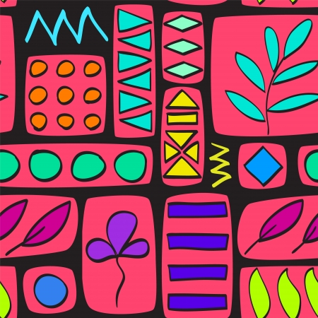 Colorful pink patchwork quilted seamless pattern Vector