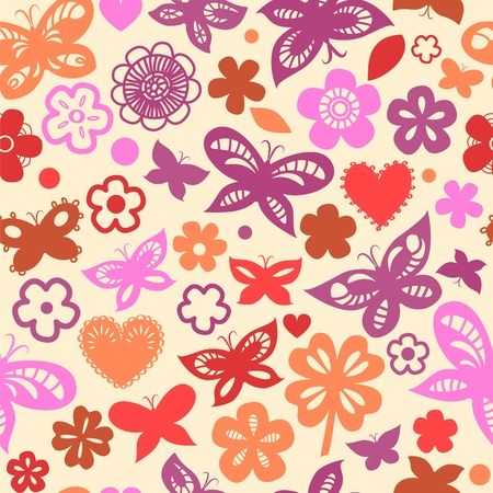 Colorful floral seamless pattern with hearts and hearts Stock Vector - 17755451