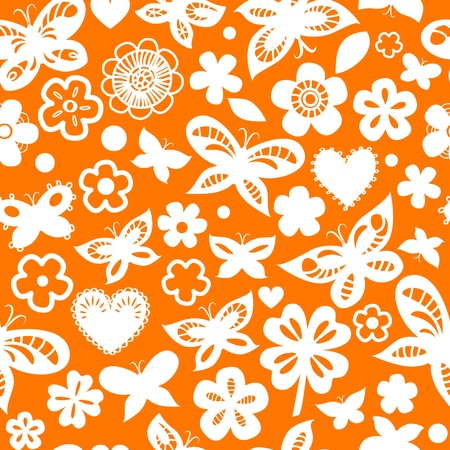 Orange and white floral seamless pattern with hearts and hearts Vector