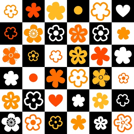Black and white checkered seamless pattern with orange flowers Vector