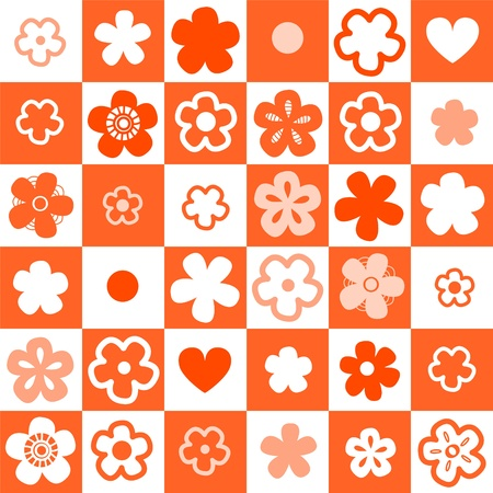 simple flower: Orange and white checkered seamless pattern with flowers