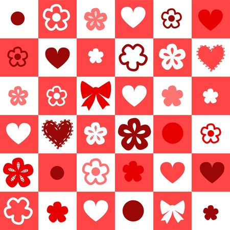 Red and white checkered seamless pattern with hearts Vector