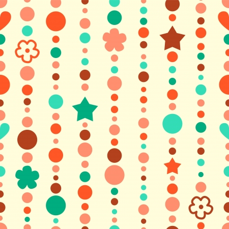 Colorful bead garland with stars and flowers seamless pattern Stock Vector - 17755452