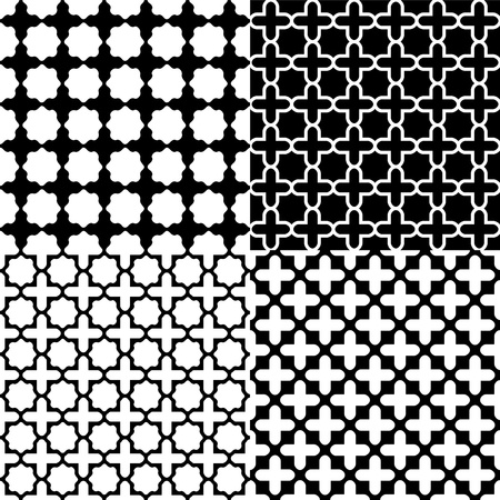 lattice: Moroccan black and white seamless patterns set Illustration