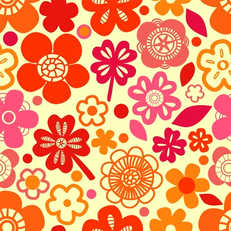 Colorful red flowers and shamrocks seamless pattern Stock Vector - 17755459