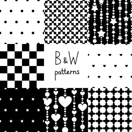 Various black and white seamless patterns set