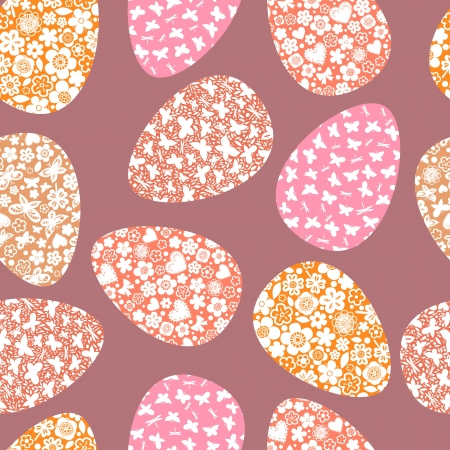 Colorful floral easter eggs on pink seamless pattern Stock Vector - 17872580