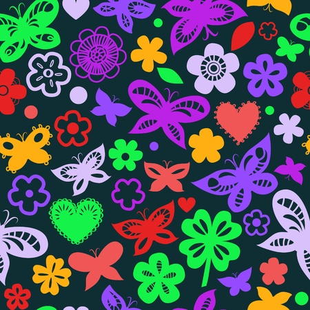 Colorful butterflies on black seamless pattern Vector