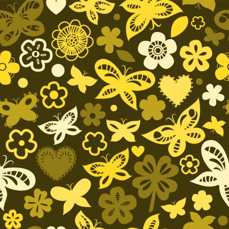 Colorful butterflies in shades of yellow seamless pattern Vector