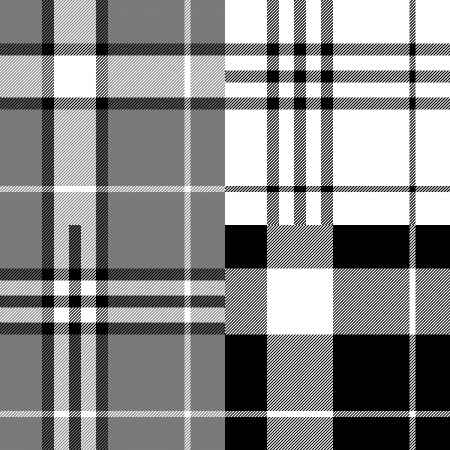 Black and white tartan traditional fabric seamless pattern Vector