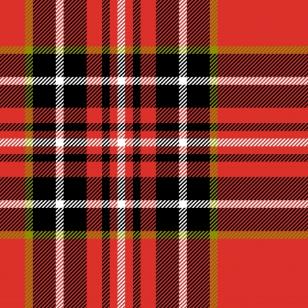 mod: Red black and white tartan traditional fabric seamless Illustration