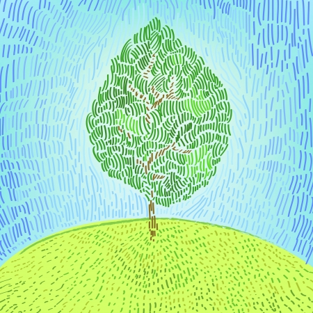 pointillism: Artistic green tree on a hill  illustration