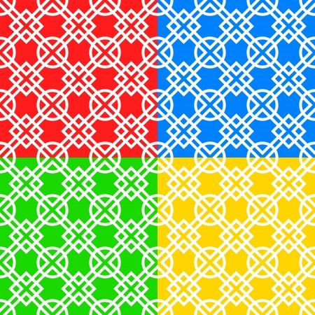 Colorful abstract geometric seamless pattern in four colors set