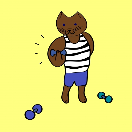 powerlifting: Funny cartoon bodybuilder cat with dumbbells on yellow, illustration