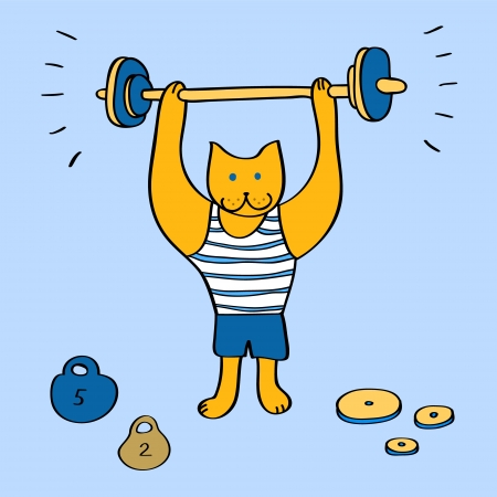 Funny cartoon bodybuilder cat with barbell on blue illustration Vector