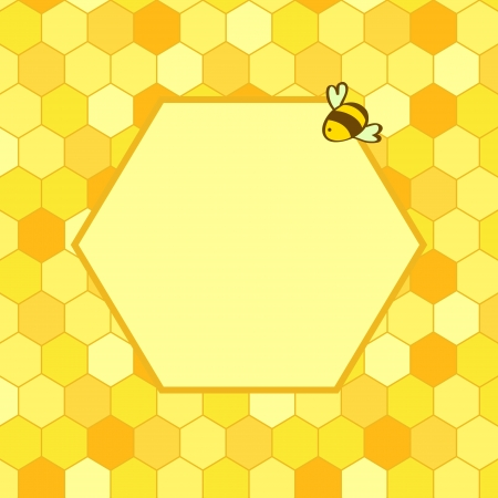 Honeycomb background with a hex frame for your text and a cartoon bee, vector