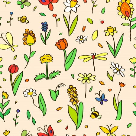 Various spring colorful flowers on beige seamless pattern, vector Vector