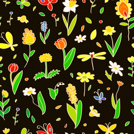 Various spring colorful flowers on black seamless pattern, vector Vector